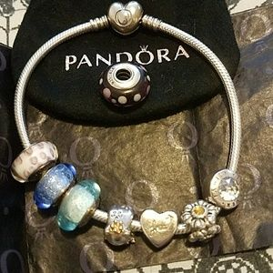 Pandora Bracelet And 8 Charms